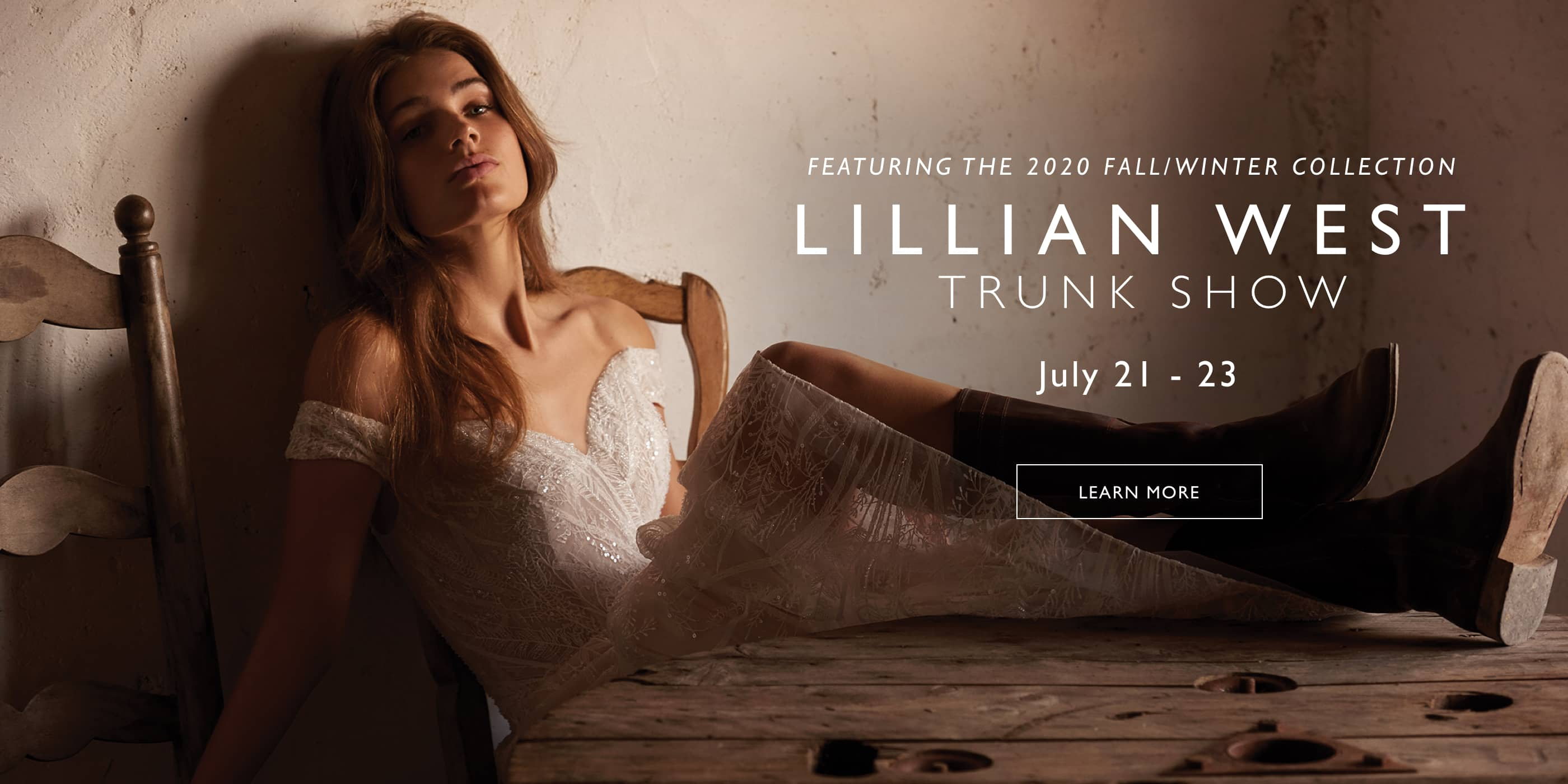 Banner for Lillian West trunk show model wearing an off the shoulder Lillian West wedding dress