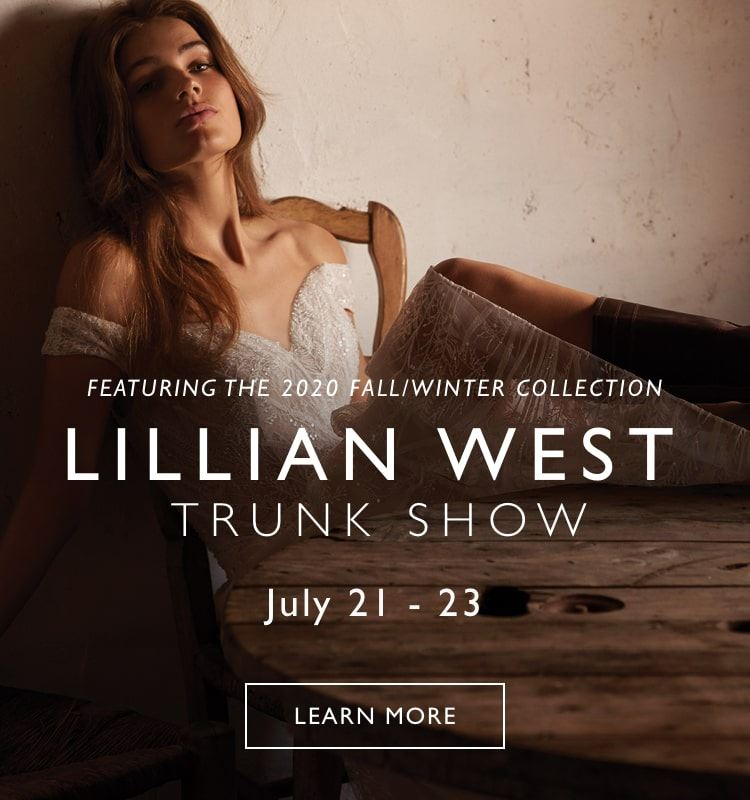 Banner for Lillian West trunk show model wearing an off the shoulder Lillian West wedding dress on mobile device